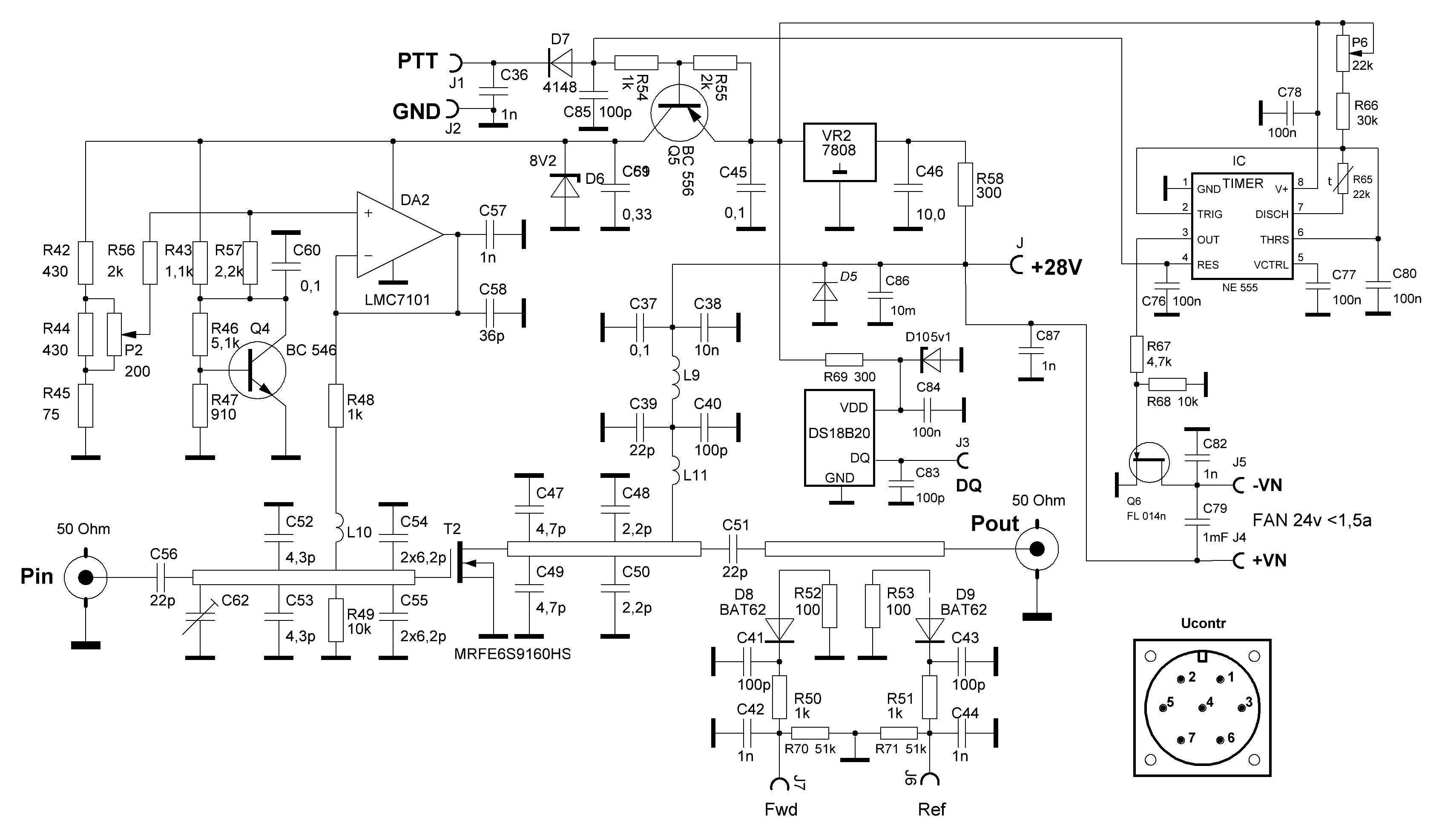 Принципиальная схема PA 23cm 150W